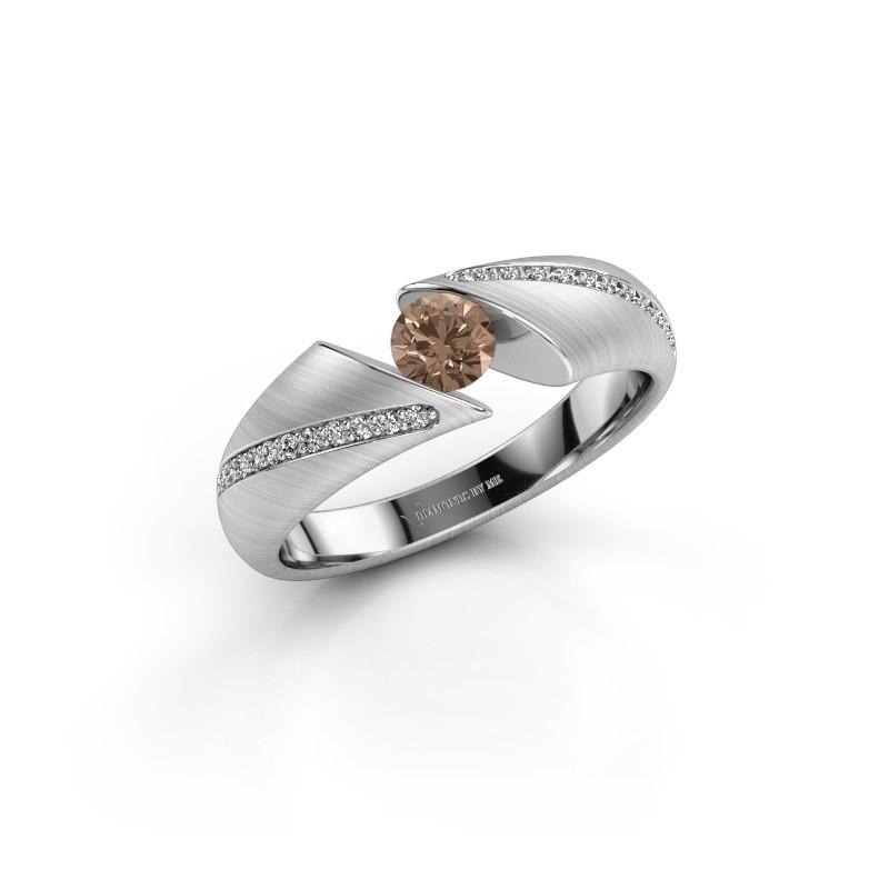 Verlovingsring Hojalien 2 585 witgoud bruine diamant 0.42 crt