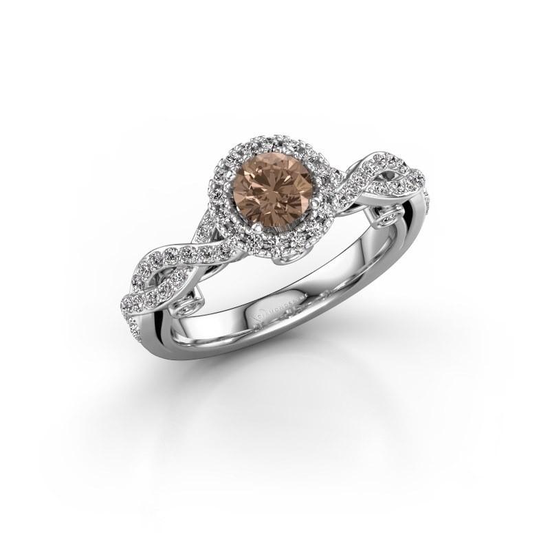 Verlobungsring Madeleine 585 Weißgold Braun Diamant 0.972 crt