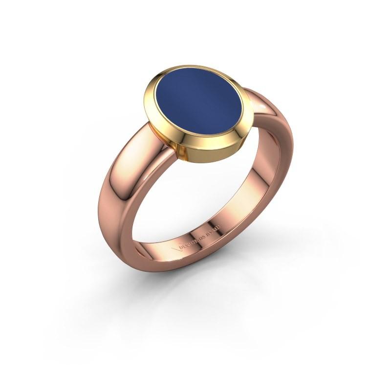 Signet ring Freeda 1 585 rose gold lapis 10x8 mm