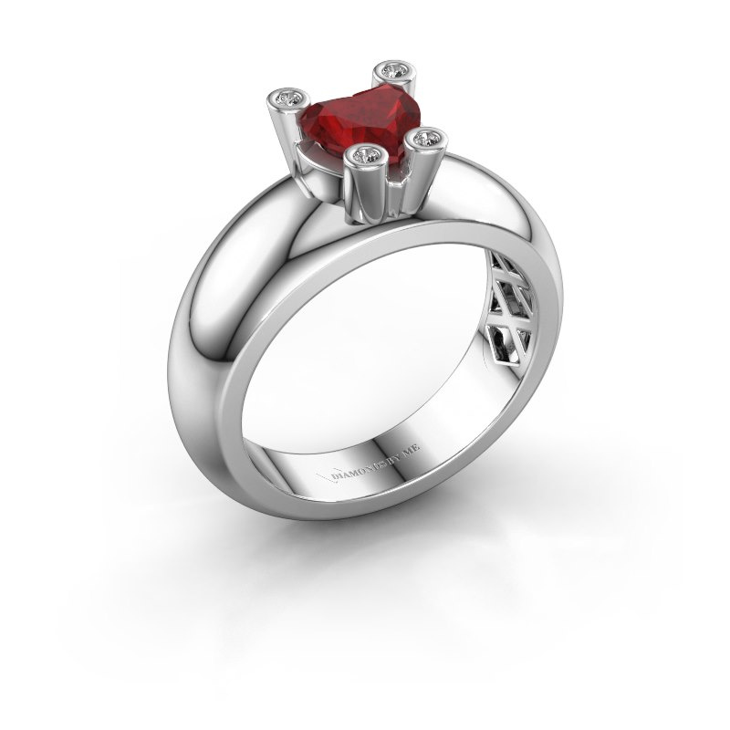 Ring Cornelia Heart 585 white gold ruby 6 mm