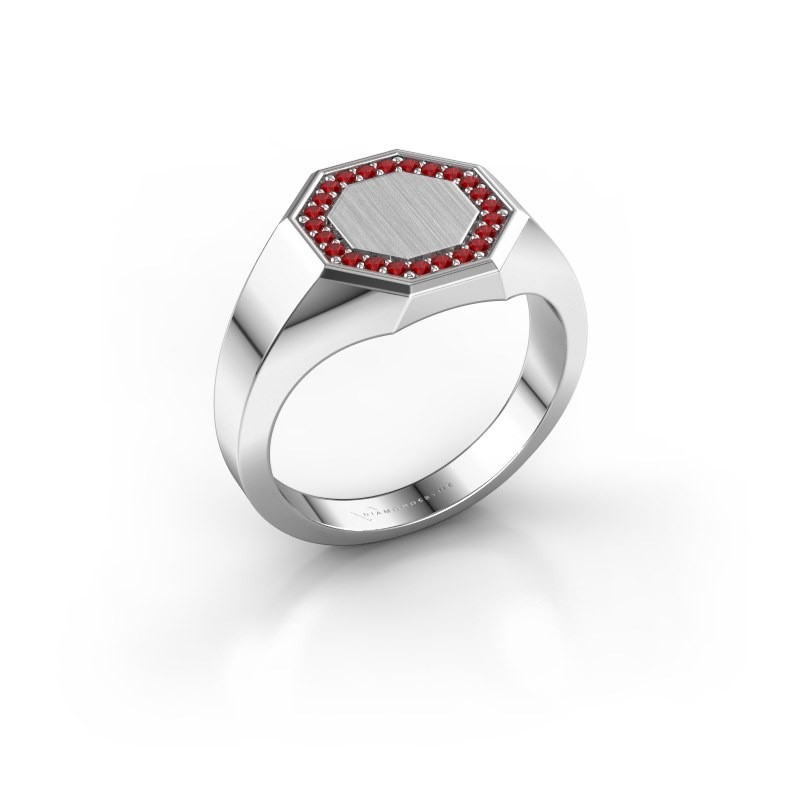 Heren ring Floris Octa 2 925 zilver robijn 1.2 mm