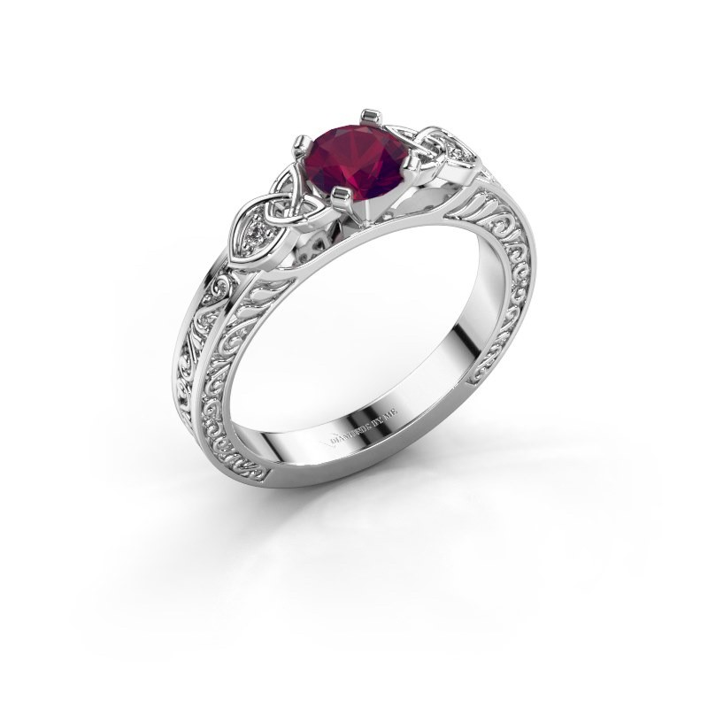 Engagement ring Gillian 585 white gold rhodolite 5 mm