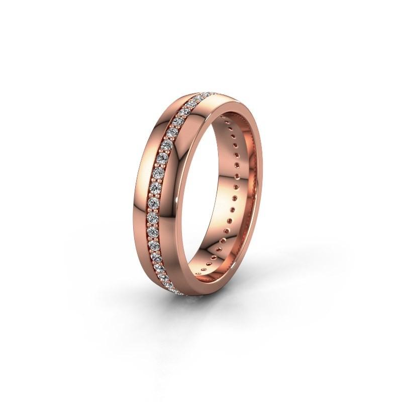 Trouwring WH0103L25BP 375 rosé goud diamant ±5x2 mm