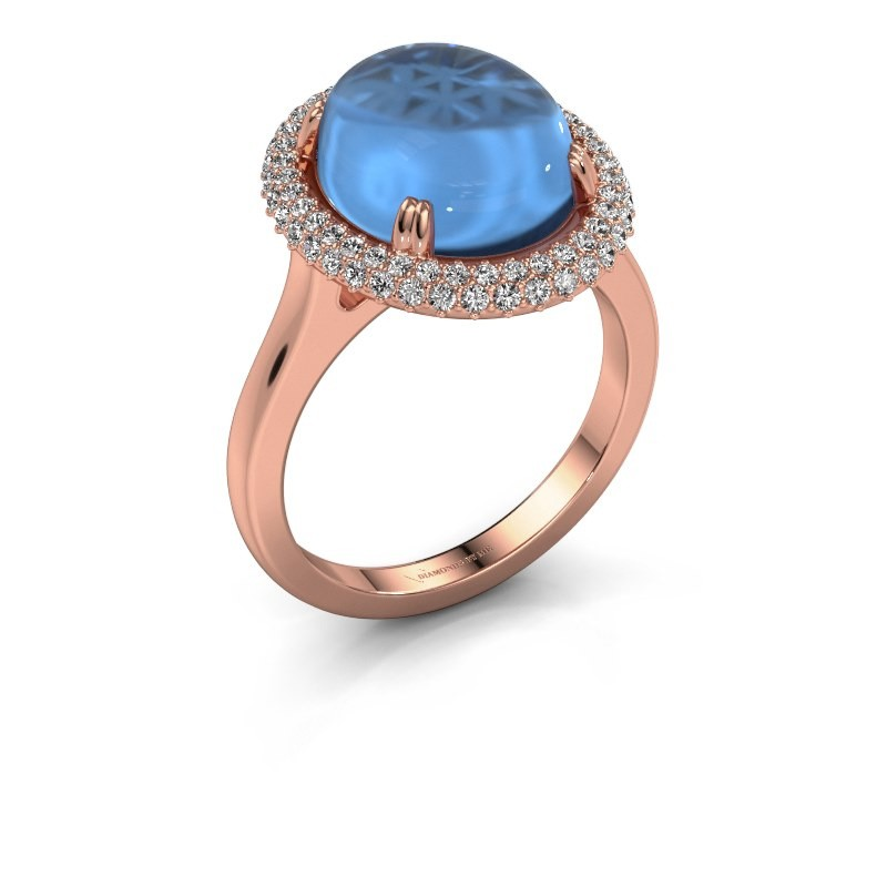 Ring Jayna 375 rosé goud blauw topaas 12x10 mm