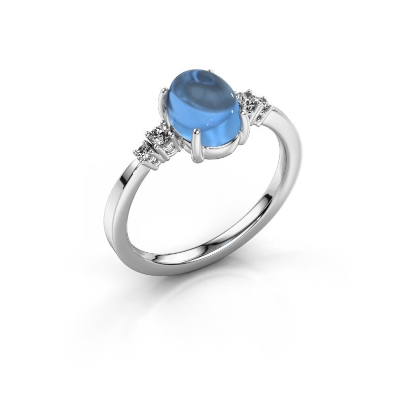 Ring Jelke 925 silver blue topaz 8x6 mm