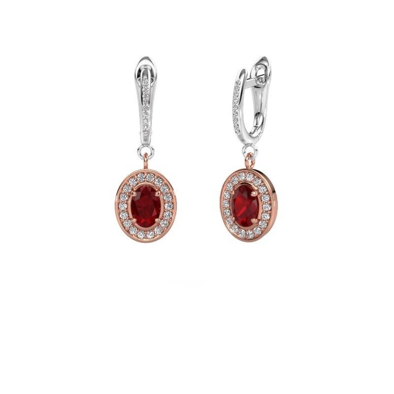 Oorhangers Layne 2 585 rosé goud robijn 7x5 mm