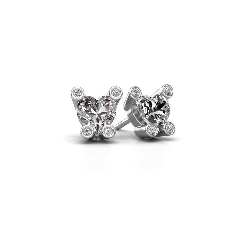 Oorstekers Cornelia Heart 375 witgoud lab-grown diamant 1.64 crt