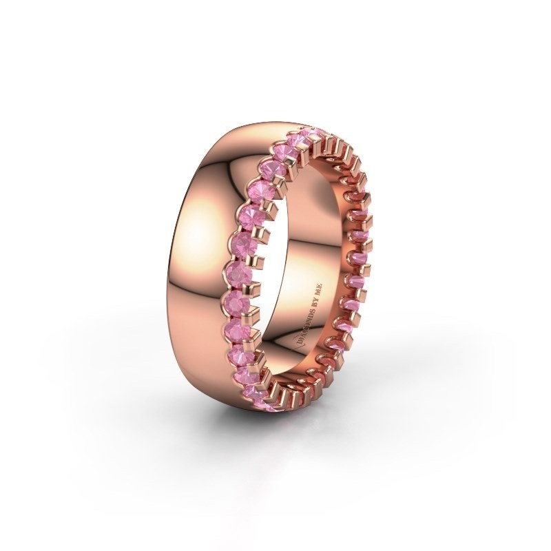 Wedding ring WH6120L27C 375 rose gold pink sapphire ±7x2.2 mm