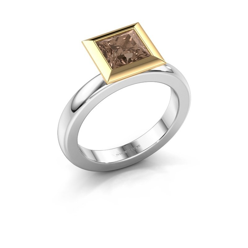 Stapelring Trudy Square 585 witgoud bruine diamant 1.30 crt