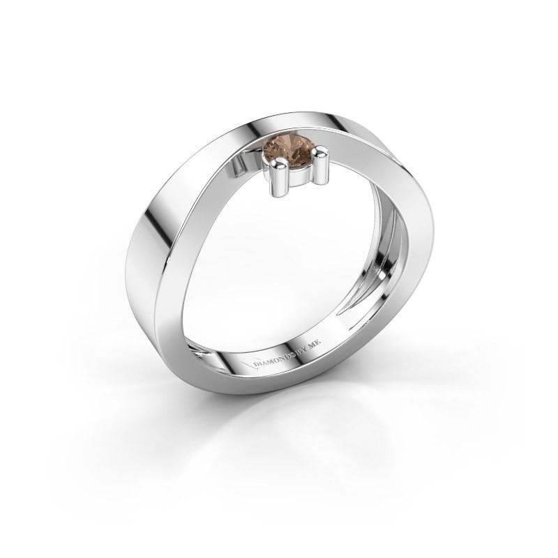 Verlovingsring Elisabeth 375 witgoud bruine diamant 0.15 crt