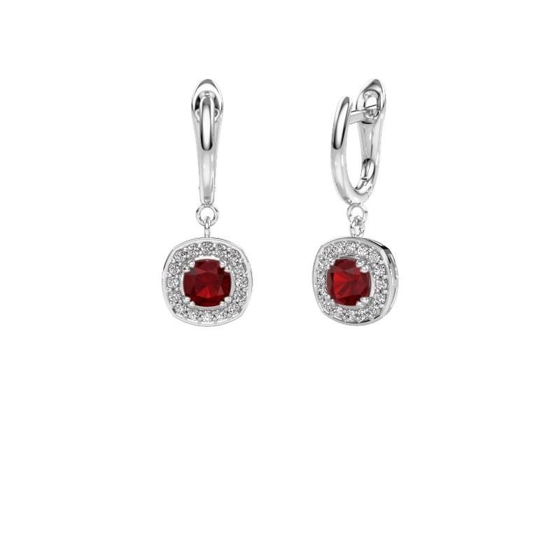 Drop earrings Marlotte 1 585 white gold ruby 5 mm