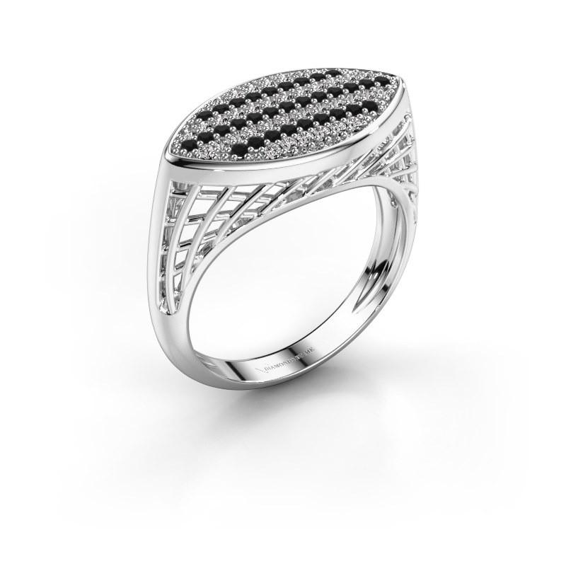 Ring Mireille 950 platina zwarte diamant 0.489 crt