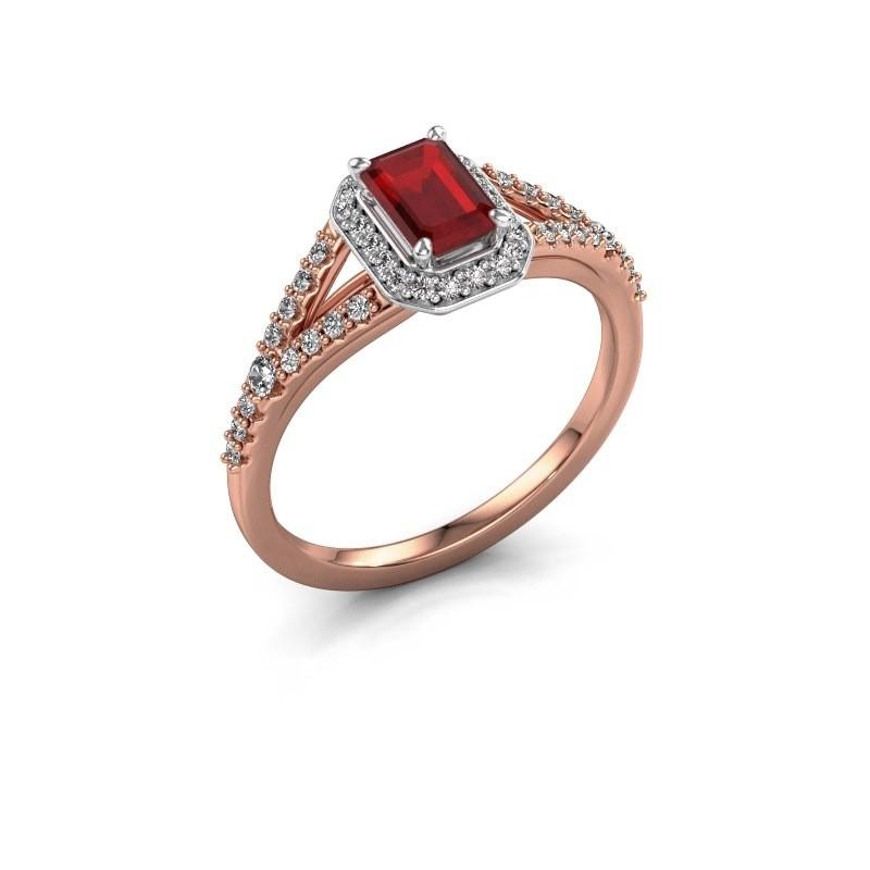 Verlovingsring Pamela EME 585 rosé goud robijn 6x4 mm