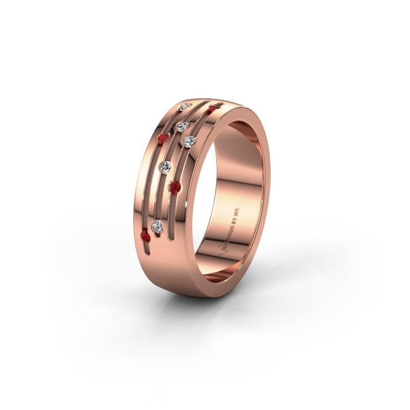 Trouwring WH0134L26B 375 rosé goud robijn ±6x2 mm
