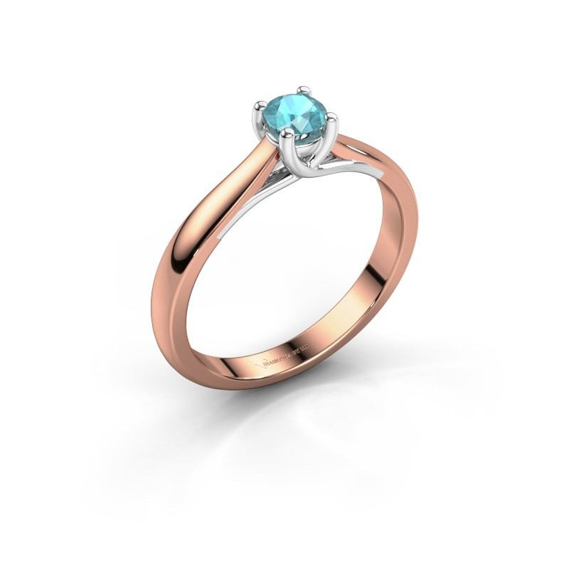 Engagement ring Mia 1 585 rose gold blue topaz 4 mm