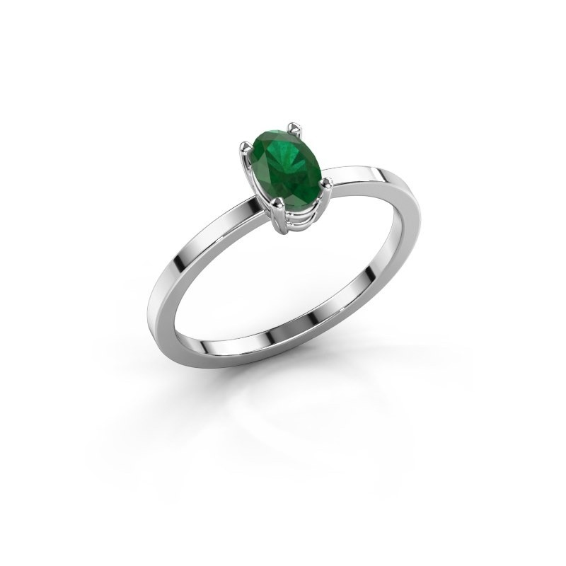 Ring Lynelle 1 585 witgoud smaragd 6x4 mm