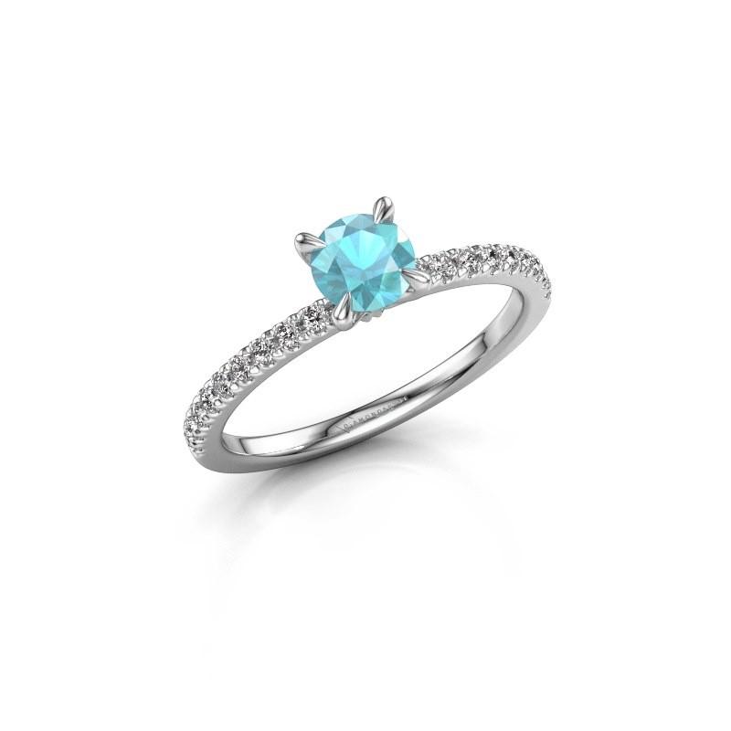Verlobungsring Crystal rnd 2 585 Weißgold Blau Topas 5 mm