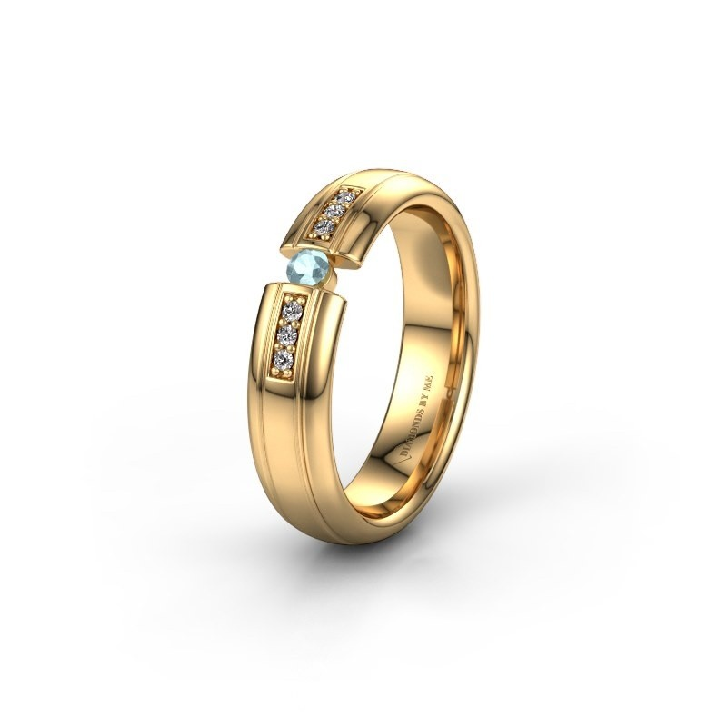 Trouwring WH2128L26C 585 goud aquamarijn ±5x2 mm