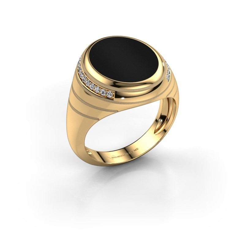 Zegelring Luuk 585 goud onyx 15x12 mm