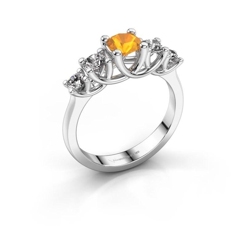 Engagement ring Jet 585 white gold citrin 5 mm