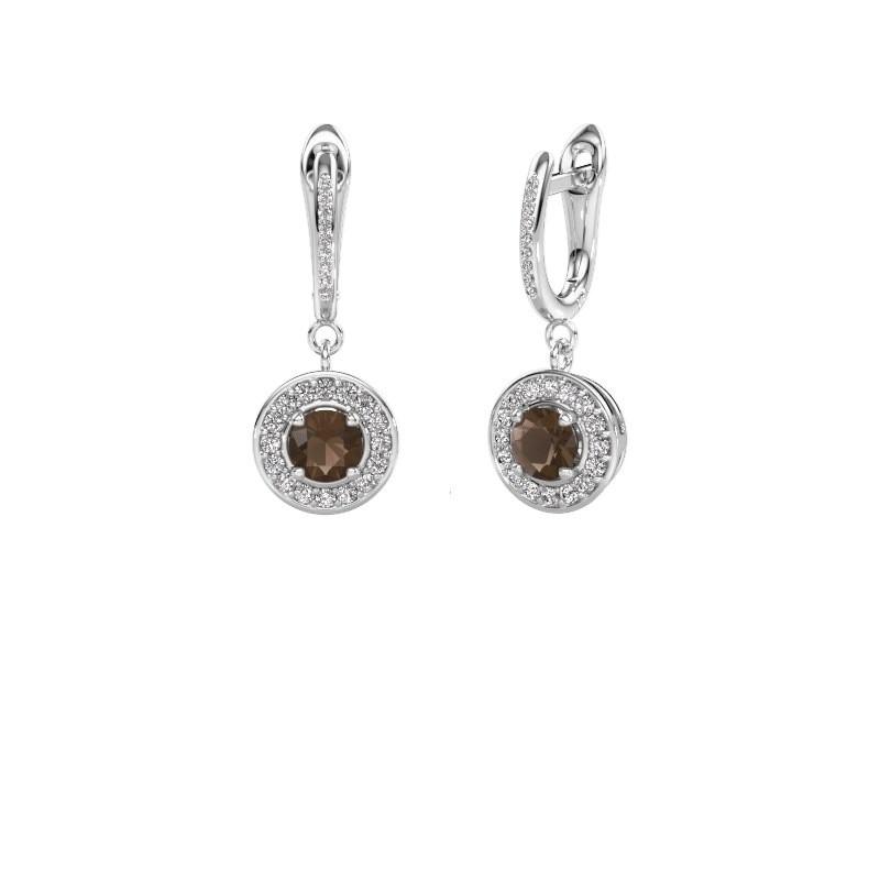 Pendants d'oreilles Ninette 2 950 platine quartz fumé 5 mm