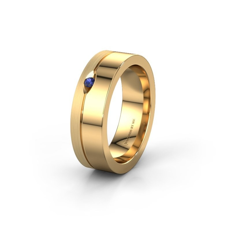 Wedding ring WH0329L16B 585 gold sapphire ±0.24x0.08 in