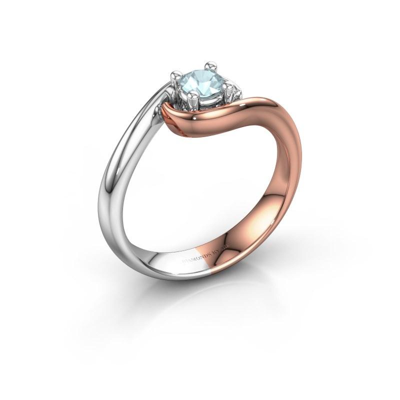 Ring Linn 585 rosé goud aquamarijn 4 mm