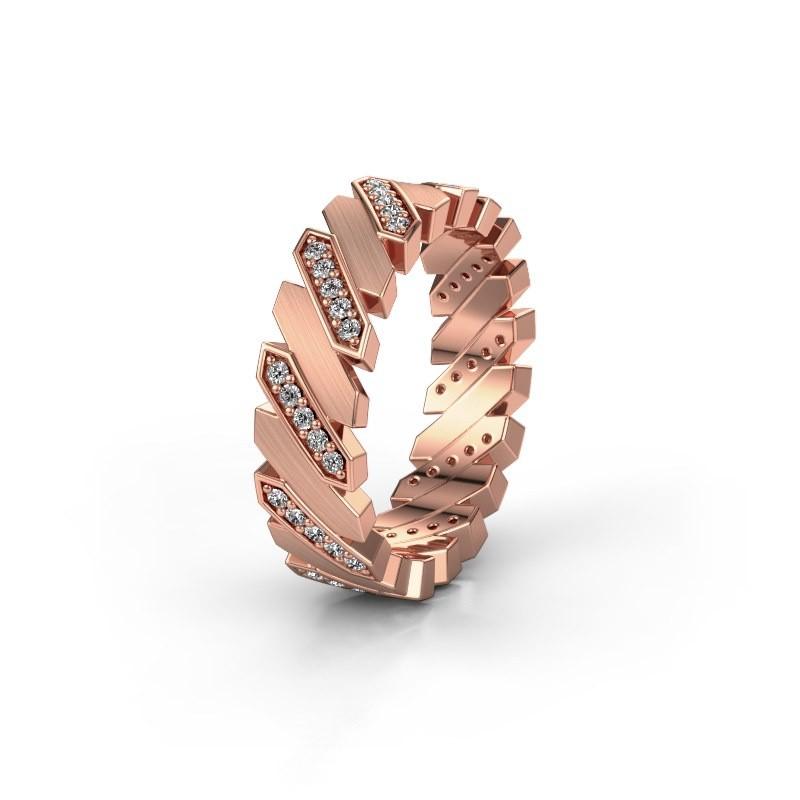 Huwelijksring WH2036M 375 rosé goud diamant ±7x2.2 mm