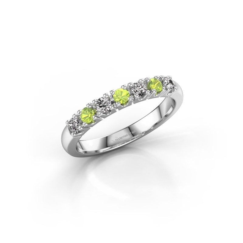 Engagement ring Rianne 7 950 platinum peridot 2.4 mm