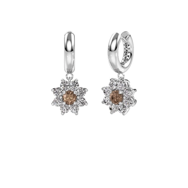 Drop earrings Geneva 1 585 white gold brown diamond 2.30 crt