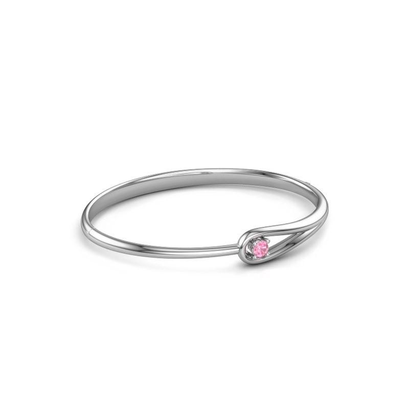 Slavenarmband Zara 585 witgoud roze saffier 4 mm