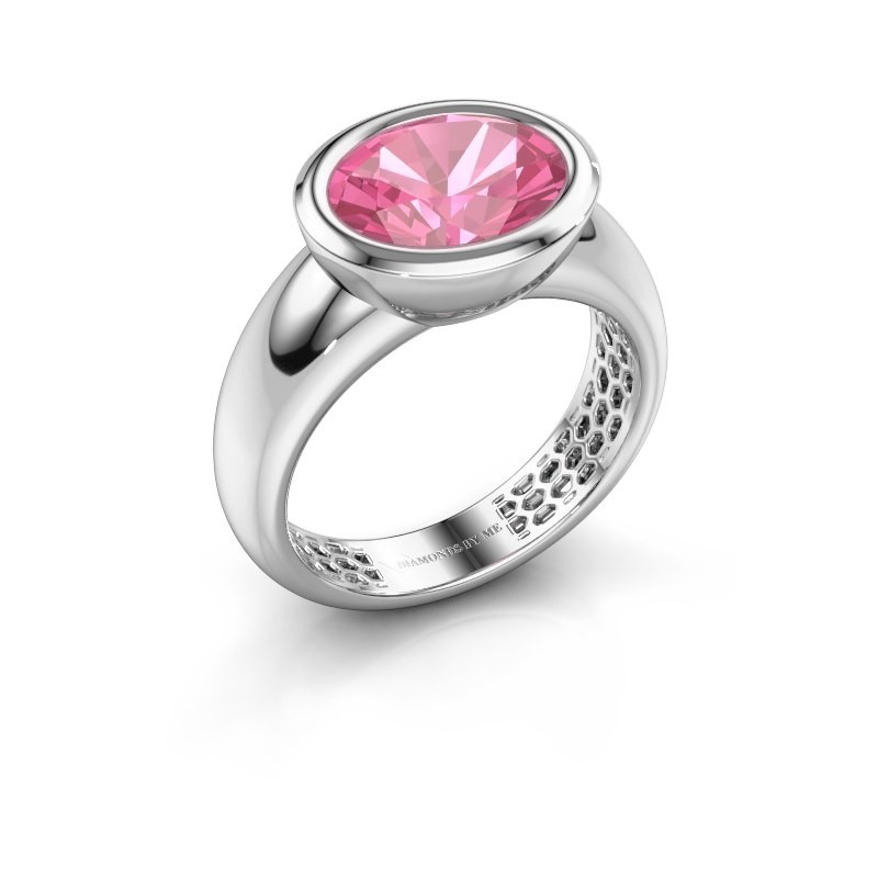 Ring Evelyne 585 witgoud roze saffier 10x8 mm