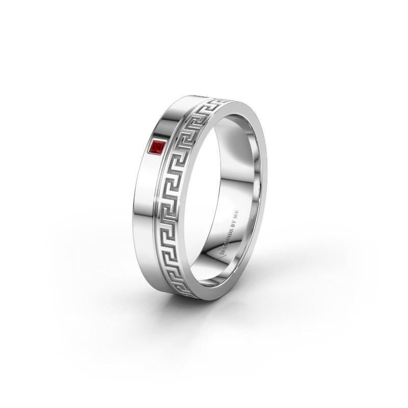 Huwelijksring WH0252L24X 925 zilver robijn ±4x1.5 mm