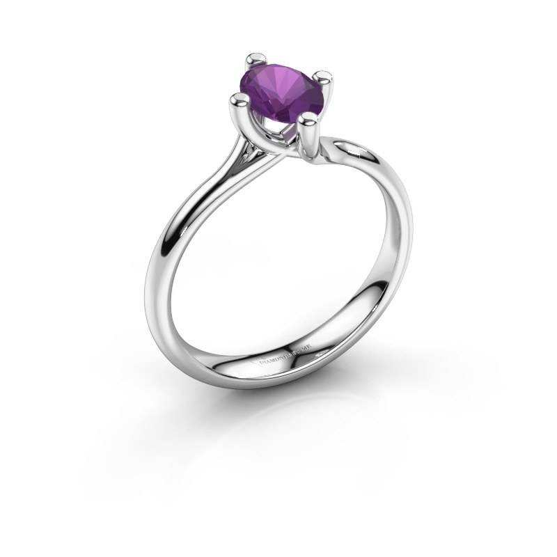 Engagement ring Dewi Oval 585 white gold amethyst 7x5 mm