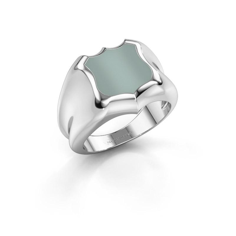 Signet ring Nevin 950 platinum green sardonyx 12x12 mm