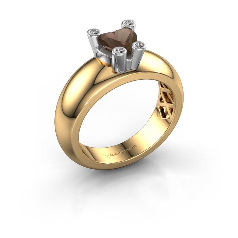 Ring Cornelia Heart 585 gold smokey quartz 6 mm