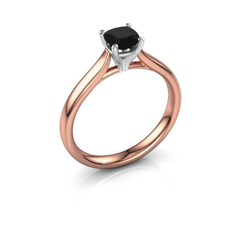 Verlovingsring Mignon cus 1 585 rosé goud zwarte diamant 0.70 crt