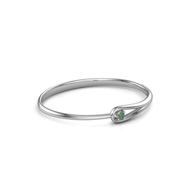 Slavenarmband Zara 585 witgoud smaragd 4 mm