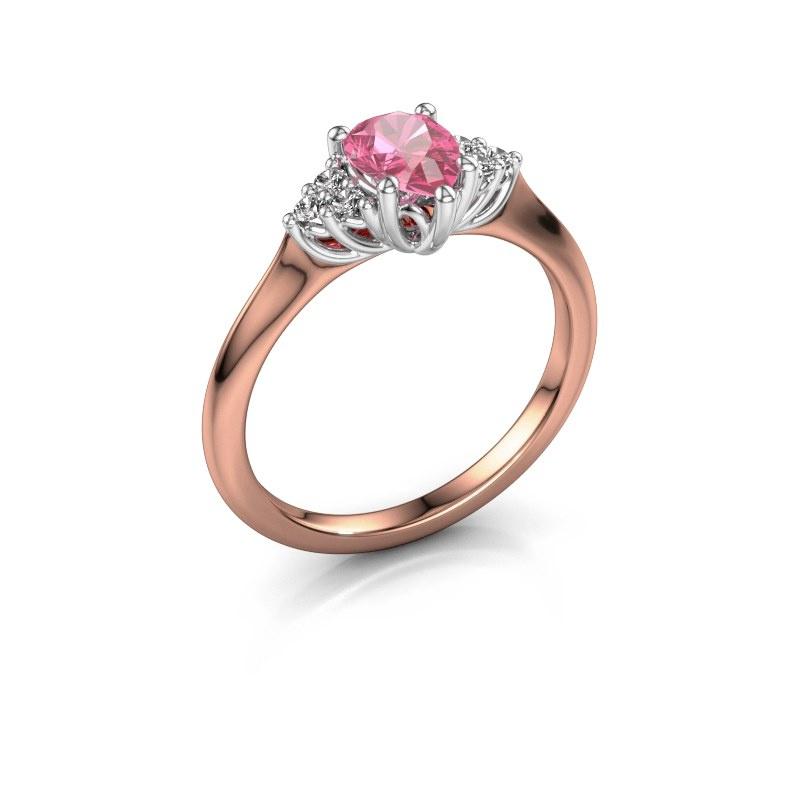 Verlovingsring Felipa per 585 rosé goud roze saffier 7x5 mm