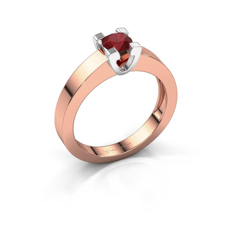 Promise ring Anne 1 585 rosé goud robijn 4.7 mm