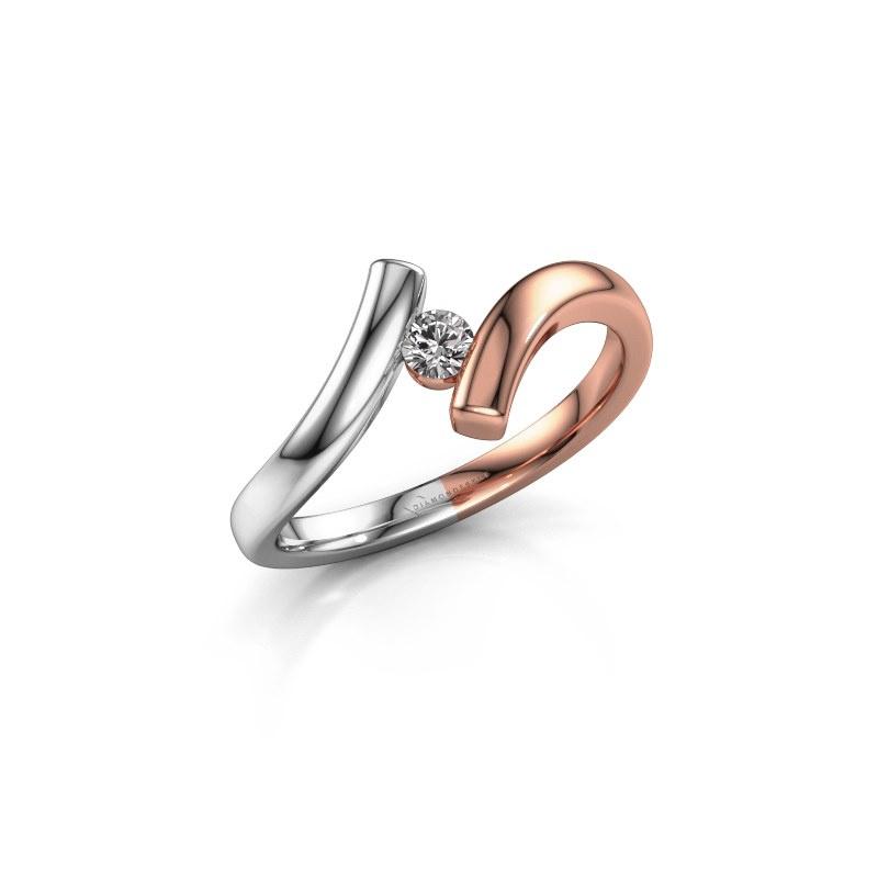 Ring Amy 585 rosé goud zirkonia 3 mm