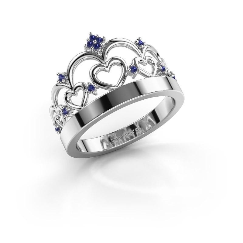 Ring Kroon 1 925 zilver saffier 1 mm