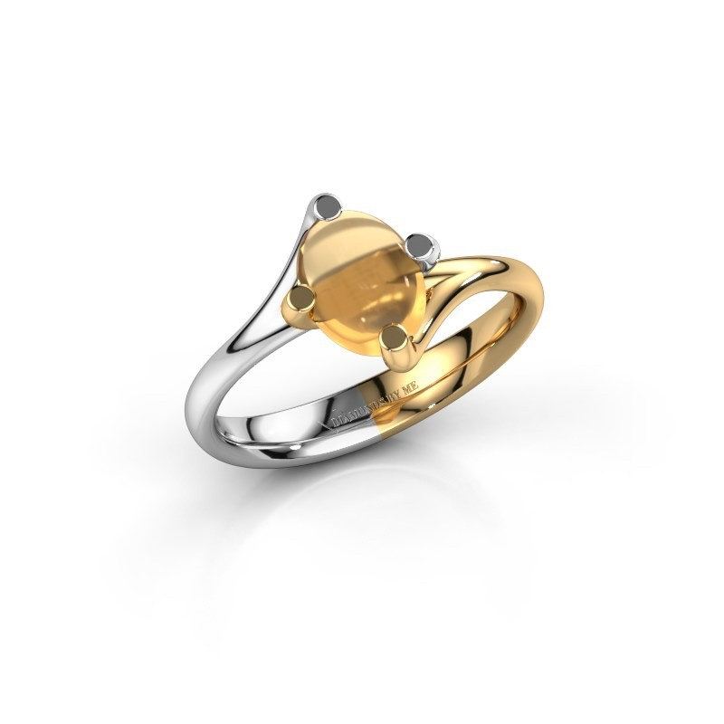 Ring Nora 585 witgoud citrien 8x6 mm