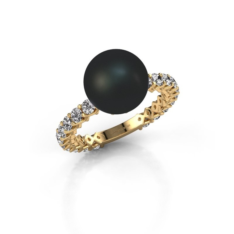 Ring Nele 375 goud zwarte parel 9 mm