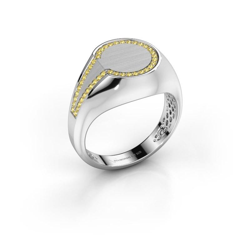 Heren ring Gijs 950 platina gele saffier 1 mm