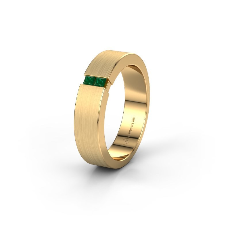 Trouwring WH2136L15E 375 goud smaragd ±5x2.6 mm