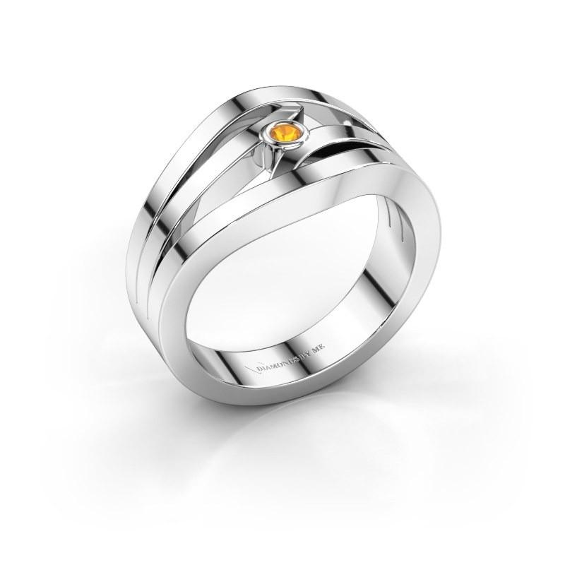 Ring Carlijn 585 Weißgold Citrin 2 mm