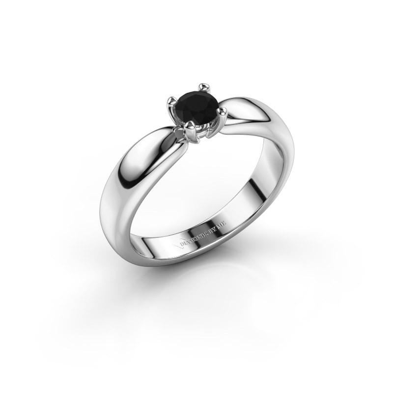 Promise ring Katrijn 585 witgoud zwarte diamant 0.36 crt