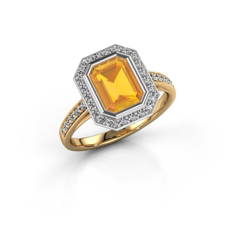 Verlovingsring Noud 2 EME 585 goud citrien 8x6 mm