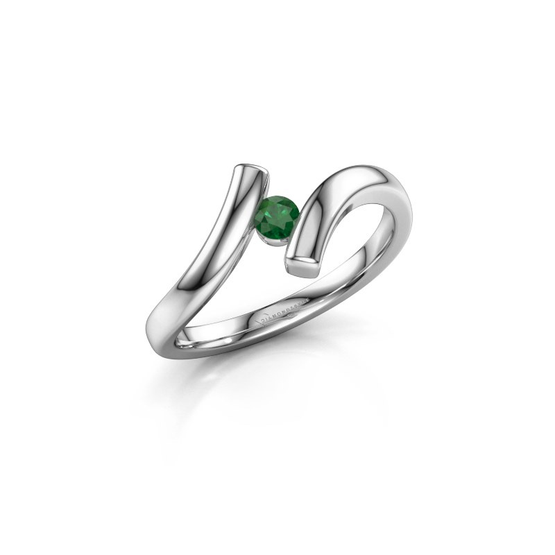 Ring Amy 925 zilver smaragd 3 mm